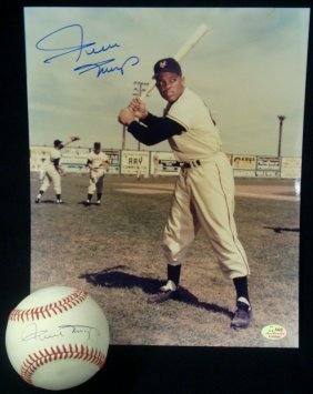 Willie Mays Autographed Onl Baseball And Photograph