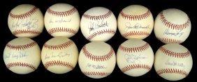 Lot Of (10) Single Signed Baseballs By Pitchers