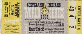 1948 Cleveland Indians World Series Game 4 Ticket Stub