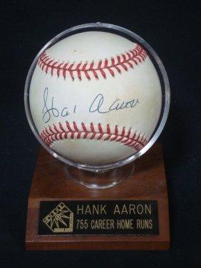 Hank Aaron Single Signed Onl Baseball