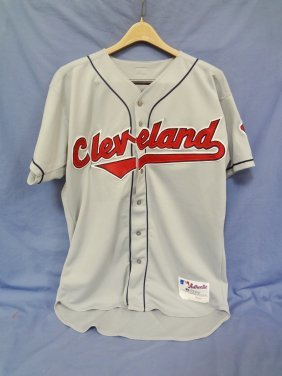 Dave Burba Autographed Road Grey Indians Game Jersey