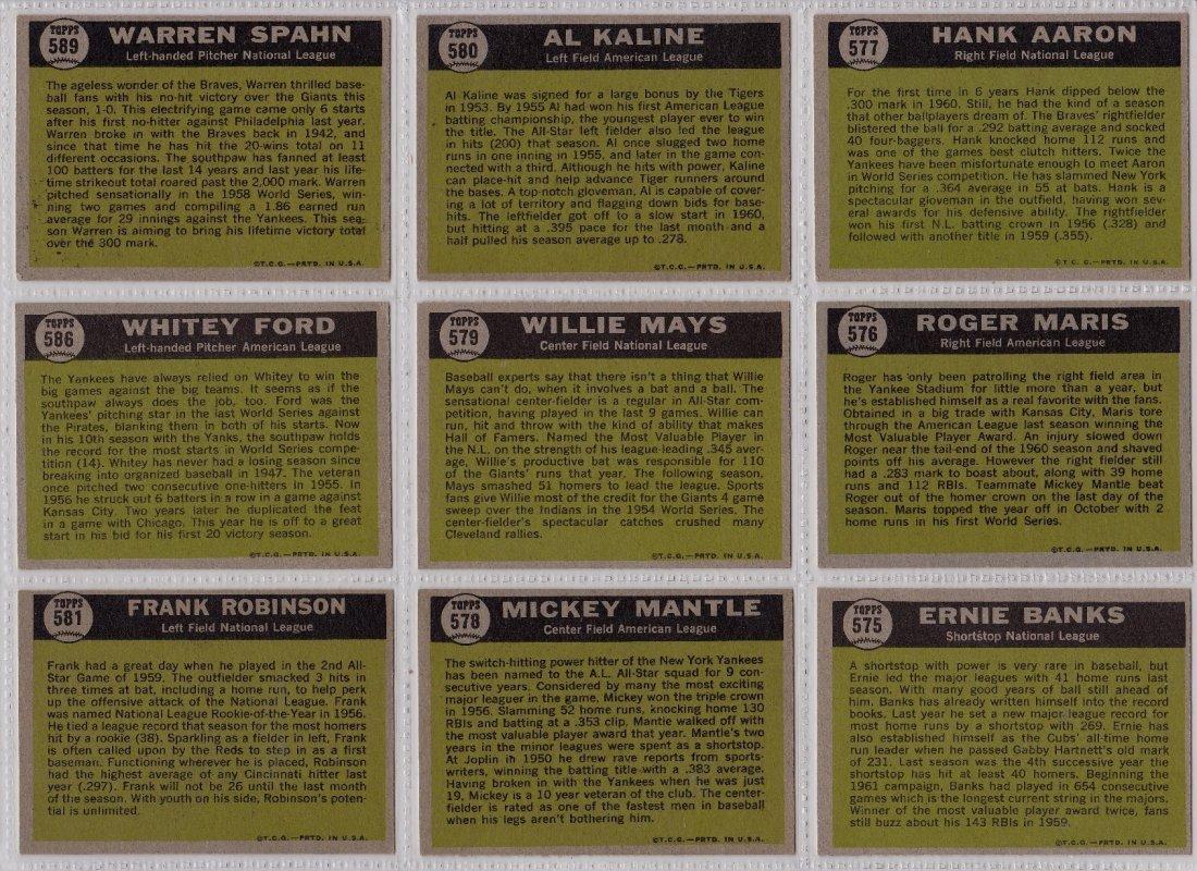 1961 Topps Baseball Card Complete Set, (587) Cards - 8