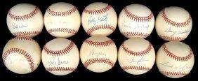 Lot Of (10) Single Signed Baseballs By Golden Glove