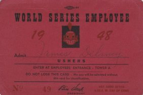 1948 Cleveland Indians World Series Employee Usher Pass