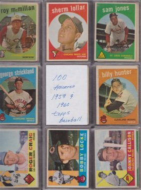 1959-60 Topps Baseball Card Lot, (100) W Stars And
