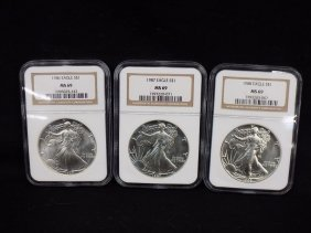 (3) American Silver Eagles All Graded Ngc 69 1986,