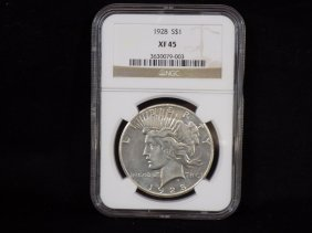 1928 United States Silver Peace Dollar Graded Ngc Xf45