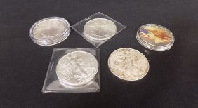 4 American Eagle Silver Dollars + 1 1922 Colorized