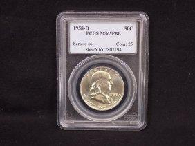 1958 D Ben Franklin 90% Silver Half Dollar Graded Pcgs