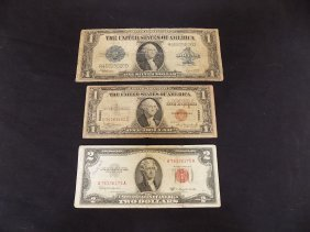 1923 Large $1 Us Silver Cert, 1935a Hawaii $1 Note,