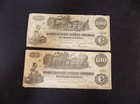 (2)1862 Confederate States Of America $100 Note Dated