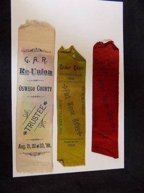 1888 G.a.r. Grand Army Of The Republic Reunion Ribbon +