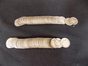 $10 Face Value 2 Rolls Mercury Dimes 90% Silver 100