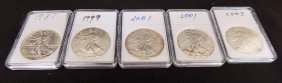 (5) United States Silver American Eagles .999 Silver
