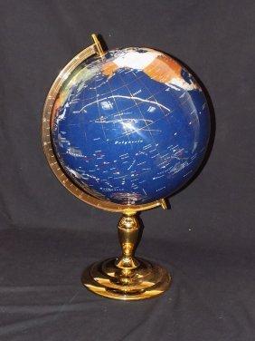 """13"""" Gemstone Globe By Gemart, Great Inlaids"""