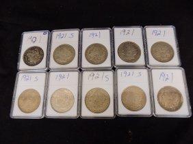 (10) United States Morgan 90% Silver Dollars Various