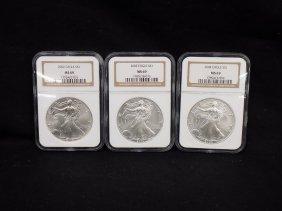 (3) American Silver Eagles .999 Silver 2002, 2003, 2004