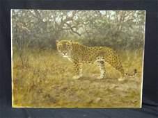 "George Majewicz Original Oil on Canvas ""Leopard"" 32 x"