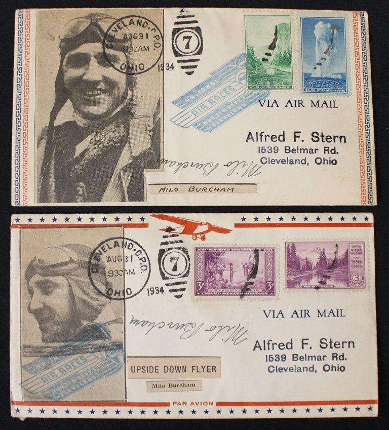 Pair of Milo Burcham Signed Cleveland Air Races Covers