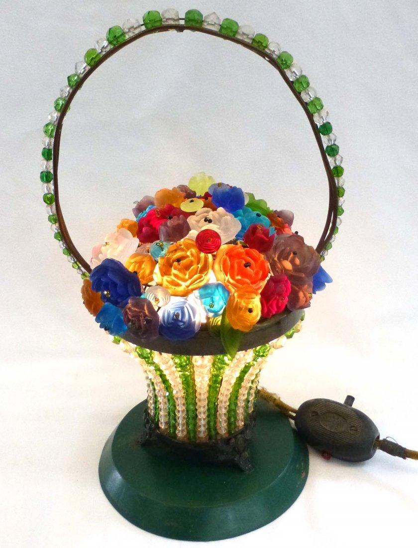 Art Deco Czech Beaded Glass Flower Basket Lamp
