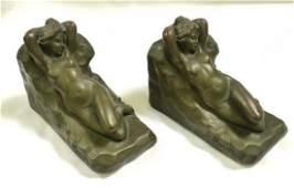 Nude Dreamer Armor Bronze Clad Bookends Morani