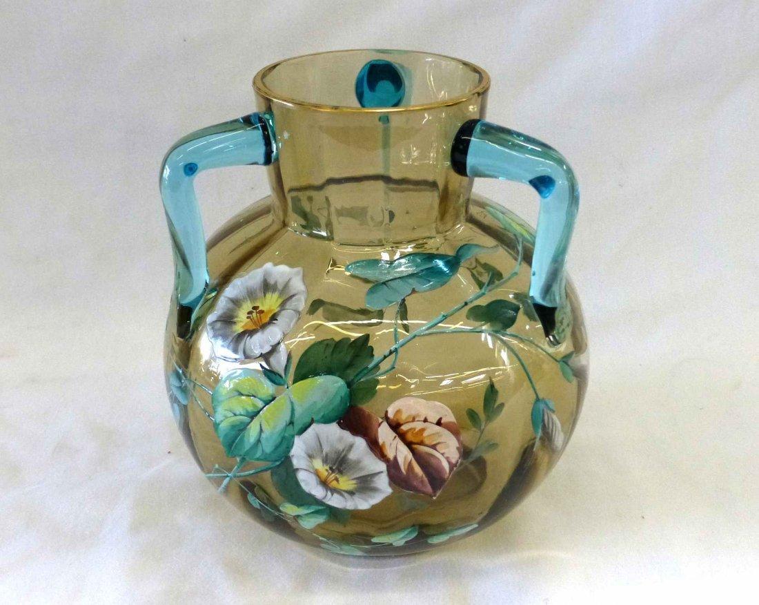Victorian Amber Blown Glass Vase 3 Applied Cobalt Blue