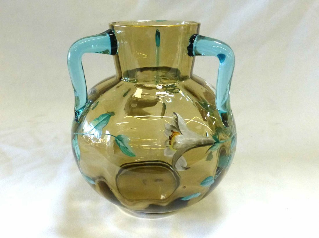 Victorian Amber Blown Glass Vase 3 Applied Cobalt Blue - 2