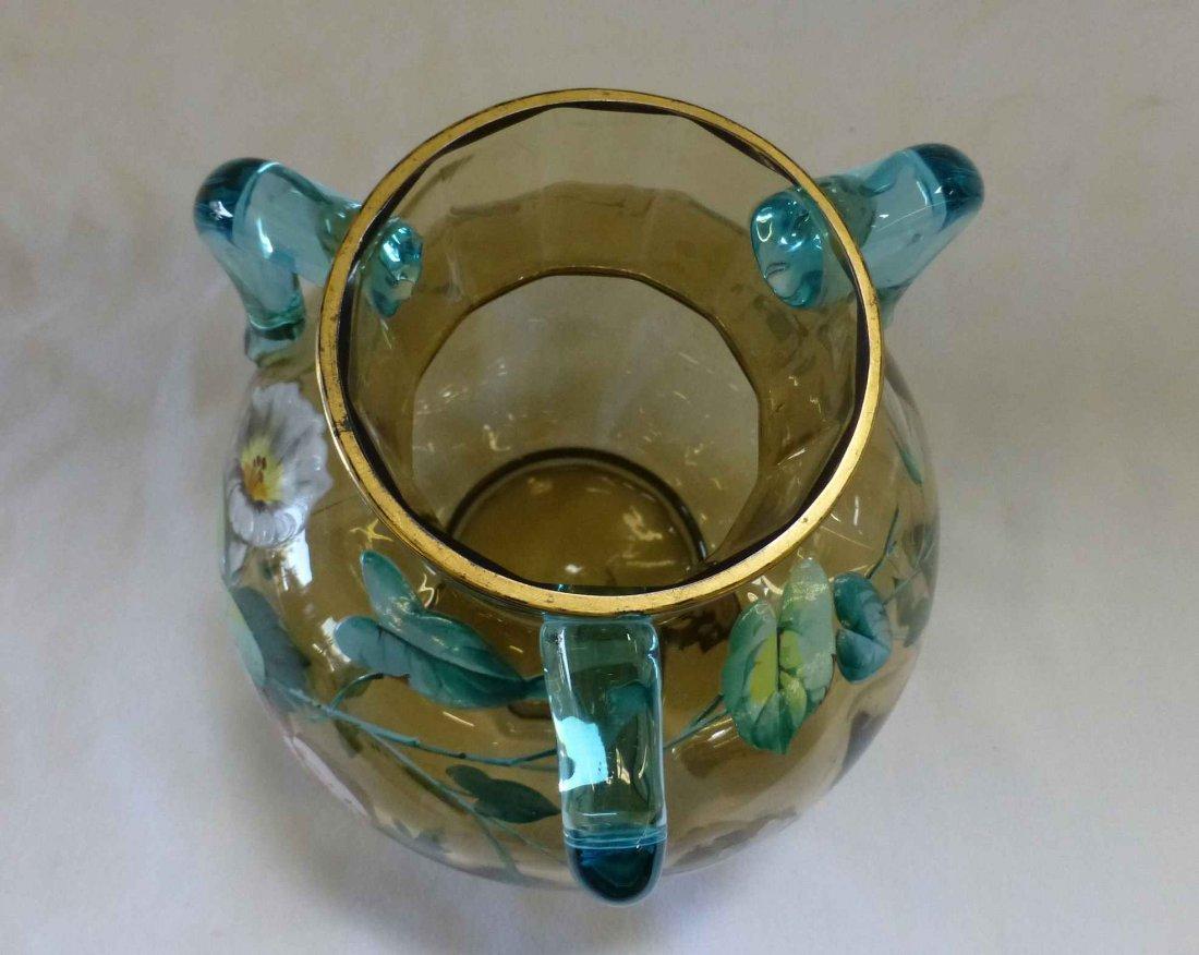 Victorian Amber Blown Glass Vase 3 Applied Cobalt Blue - 3