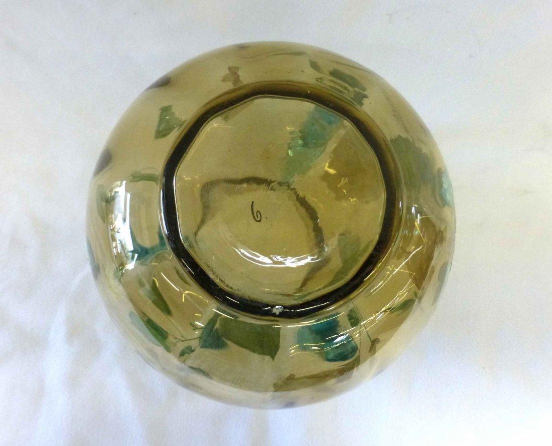 Victorian Amber Blown Glass Vase 3 Applied Cobalt Blue - 4