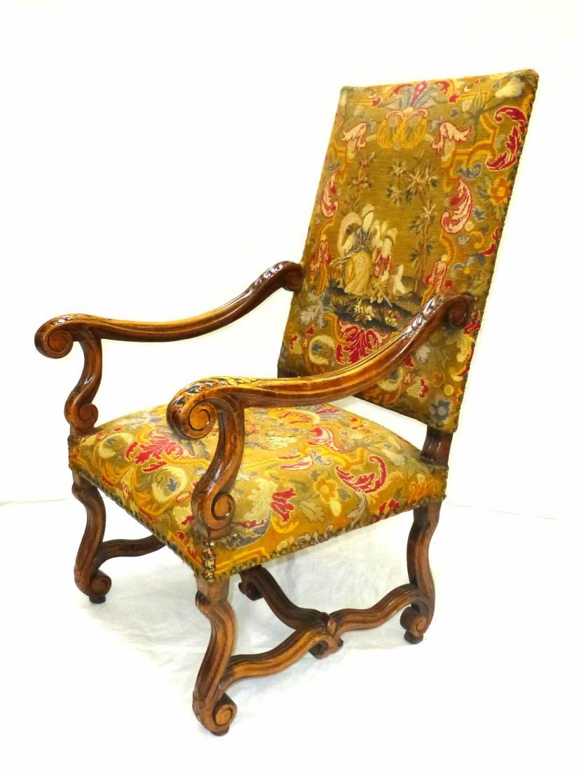 Early Carved French Style NeedlePoint Throne Chair
