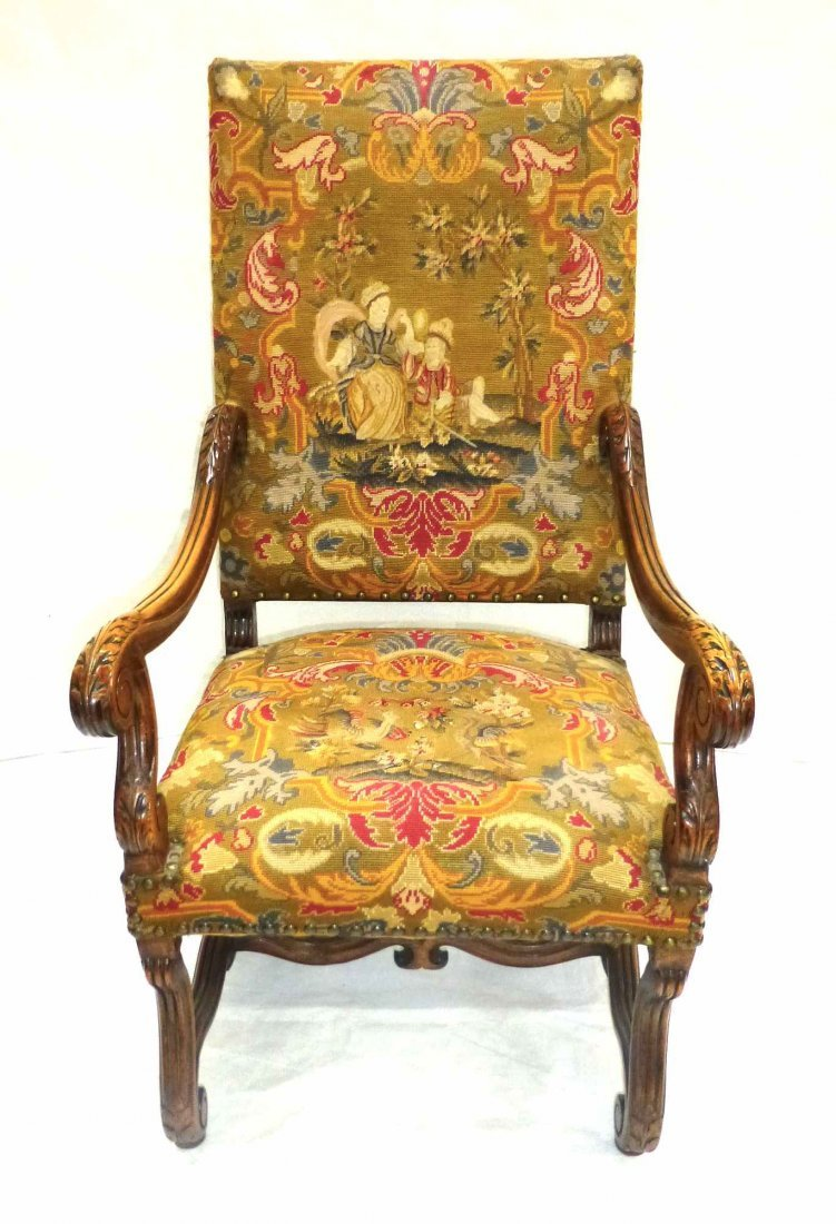 Early Carved French Style NeedlePoint Throne Chair - 2