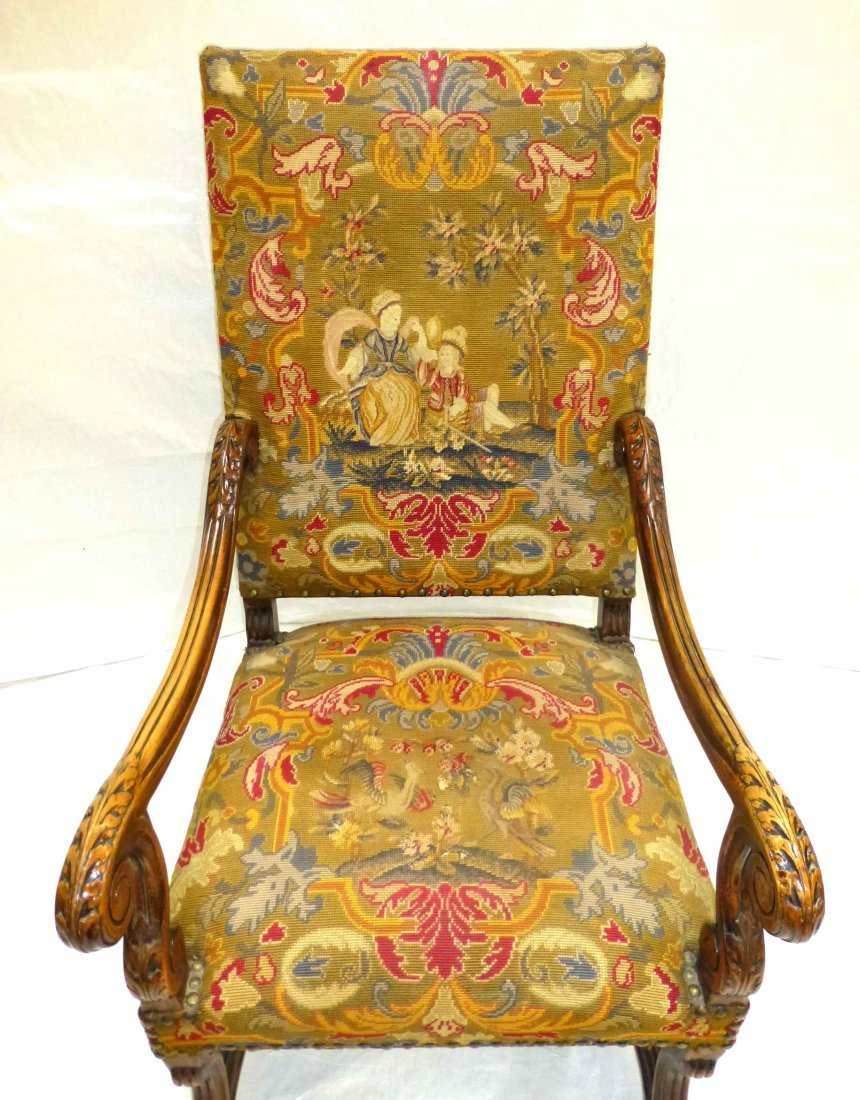Early Carved French Style NeedlePoint Throne Chair - 3