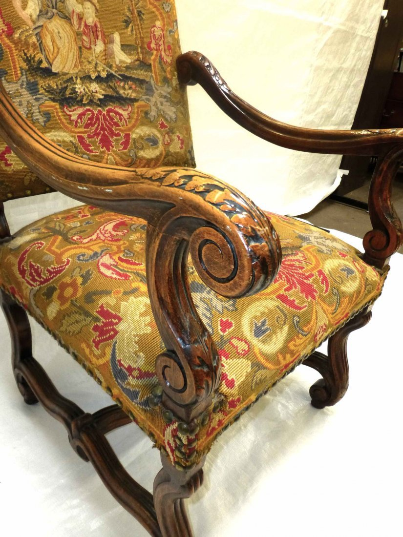 Early Carved French Style NeedlePoint Throne Chair - 4