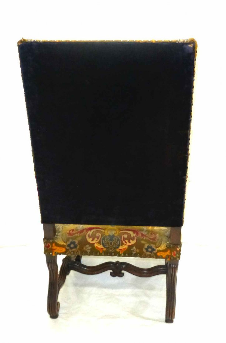 Early Carved French Style NeedlePoint Throne Chair - 5