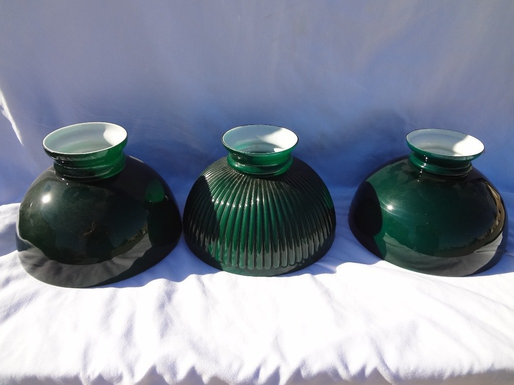 (3) Green Cased Student Lamp Shades