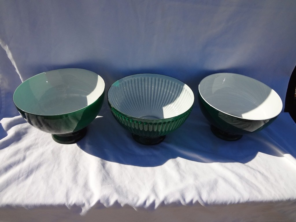 (3) Green Cased Student Lamp Shades - 3