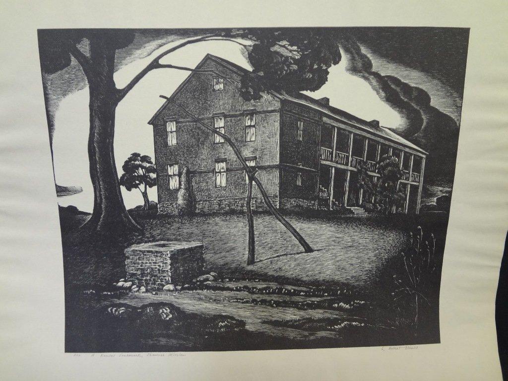 "E. Hubert Deines Wood Engraving ""A Kansas Landmark-"