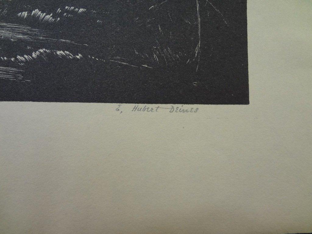 "E. Hubert Deines Wood Engraving ""A Kansas Landmark- - 3"