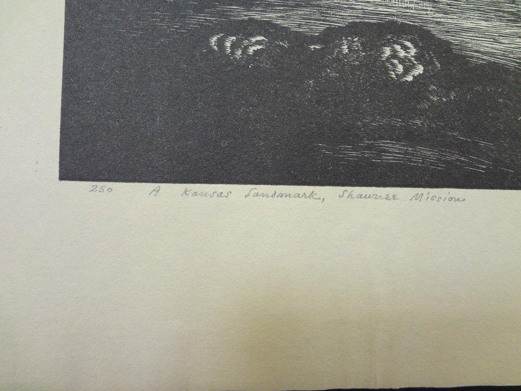 "E. Hubert Deines Wood Engraving ""A Kansas Landmark- - 4"