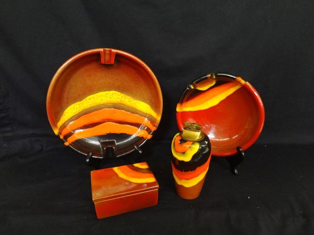 Mid Century Modern Ashtray Pottery Group of (4) Made in
