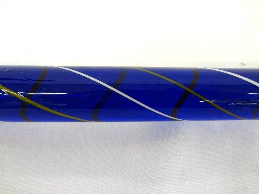 Blue Heavy Glass Cane: Round Head Swirl Design - 3