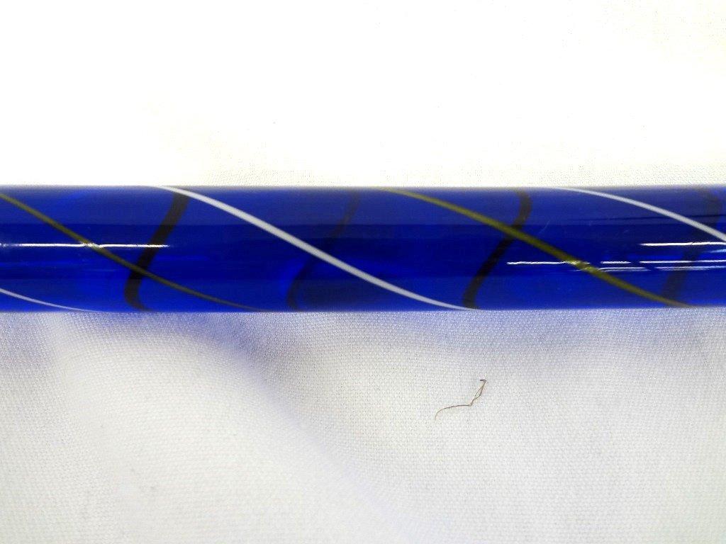 Blue Heavy Glass Cane: Round Head Swirl Design - 4