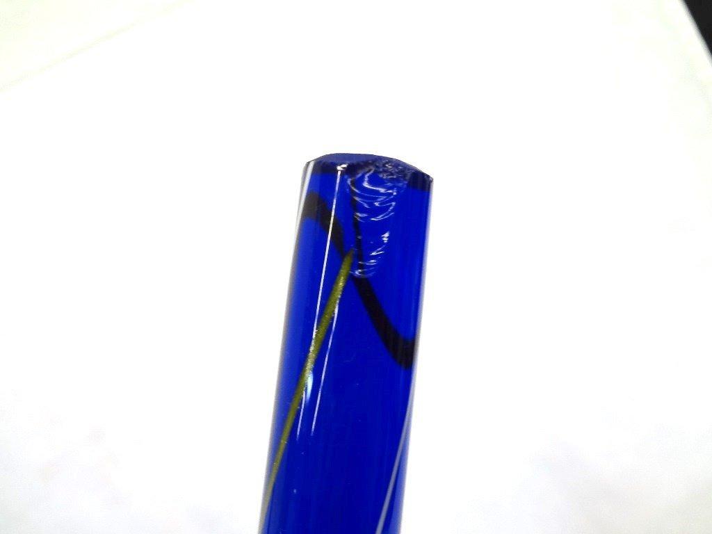 Blue Heavy Glass Cane: Round Head Swirl Design - 5