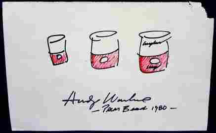 Andy Warhol Original Campbell Soup Doodle and Signature