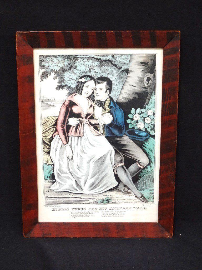 "Grain Painted Frame with N. Currier Print ""Robert Burns"