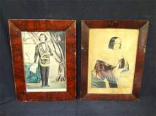 2 Grain Painted Frames with N Currier Prints Agnes