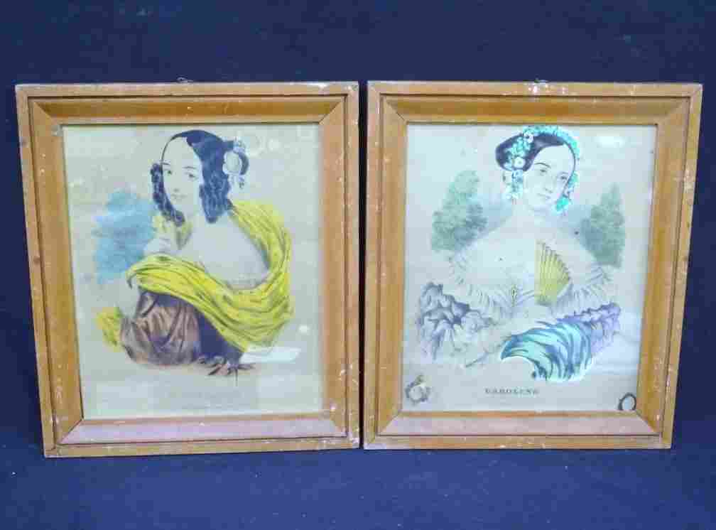 "(2) Early Frames with Currier Ladies Prints ""Caroline"