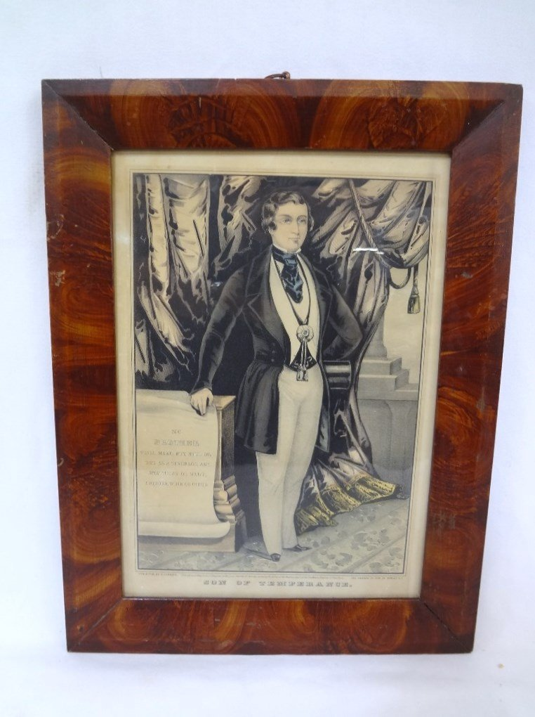Original 19th Century Grain Painted Frame with N.