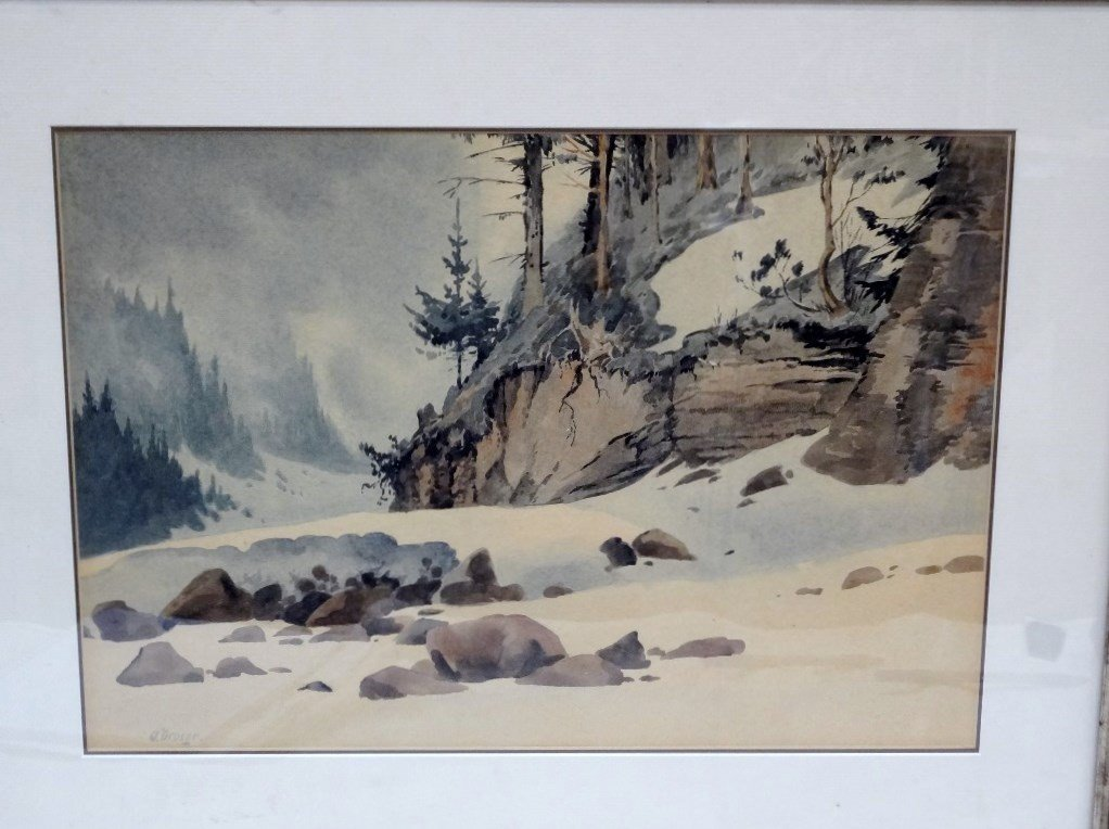 Attributed to Oska Droege Watercolor Matted and Framed