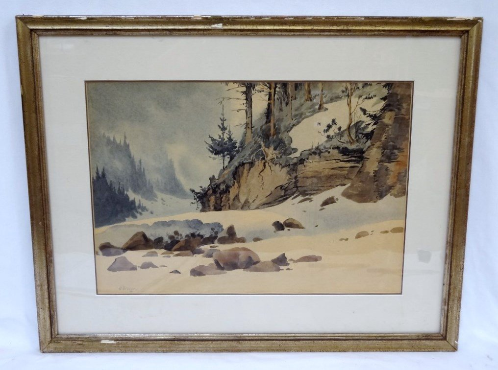 Attributed to Oska Droege Watercolor Matted and Framed - 2